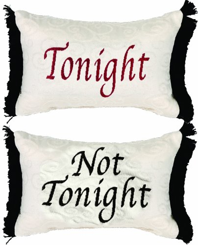 Manual 12.5 x 8.5-Inch Decorative Throw Pillow, Tonight or Not Tonight Reversible Damask