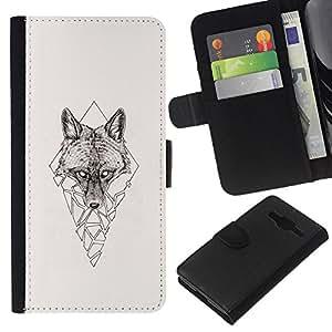 JackGot ( Polígono Triángulo Lobo ) Samsung Galaxy Core Prime la tarjeta de Crédito Slots PU Funda de cuero Monedero caso cubierta de piel