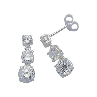 Adara White Cubic Zirconia Drop Sterling Silver Earrings UrRFaZ77