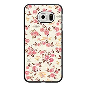 Simple Hard Durable Case Cover for Samsung Galaxy s6 Edge Graceful Flower Design Mobile Phone Case for Girls with Flower Logo Design