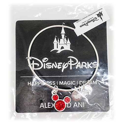 Disney Parks Alex and Ani Mickey Mouse Swarovski Crystal RED Birthstone Bangle Bracelet - Jewelry (Silver, July) ()