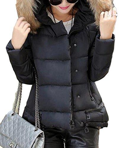 Puffer Black Warm Collar amp;W Women's Down Jackets Fur M amp;S Padded q0g6w6