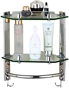 IUYJVR Bathroom Glass Shelf 3 Tier Shower Corner Rack Wall Mounted Shelves Antirust Stainless Steel 34cm/13.3in Easy to Install, 2 Tiers