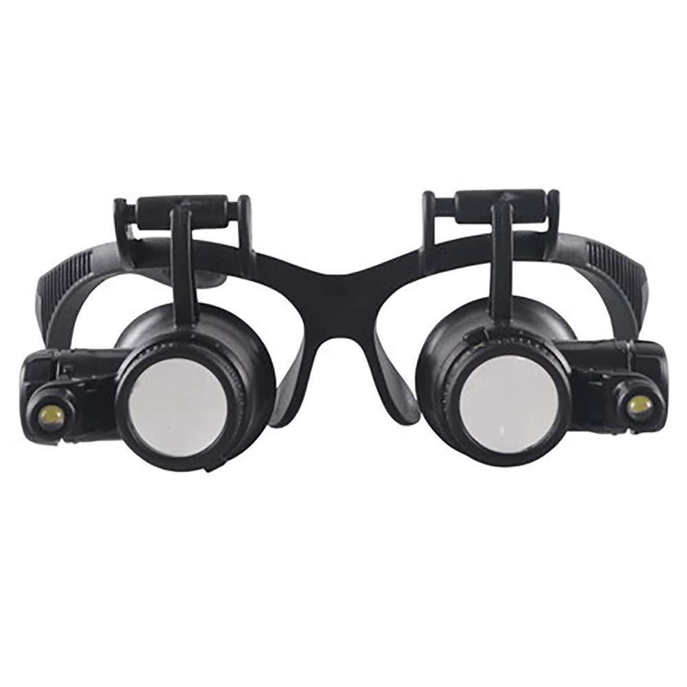 BLWX - Lupe - Head-Mounted Lupe HD mit LED-Licht-Handyuhr Reparatur Diamantschmuck Identifikation Hohe Vergrößerungsbrille Binokular Binokular Vergrößerungsspiegel Lupe