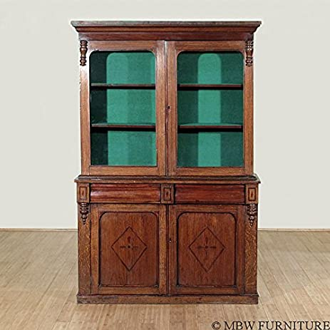 Lovely Antique Oak Victorian Bookcase Curio Cabinet