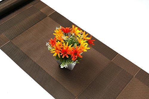 Compatible Placemats table runner,U'artlines 1 piece Crossweave Woven Vinyl Table Runner Washable 30x180cm (Brown, Table runner) by U'Artlines (Image #3)