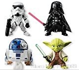 PAPWELL Set 4 Star Wars Action Figures 3 inch Hot Toys Darth Vader Yoda R2-D2 Stormtrooper Figure The Force Awakens Mini PVC Toy Halloween Christmas Collectable Gifts Collectibles Gift for Kids