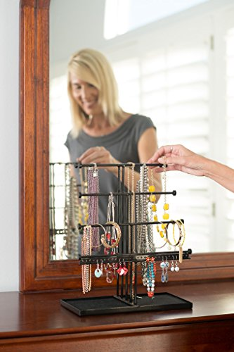 Castlencia Black Velvet Tray Extra Large 5 Tier Tabletop Bracelet, Necklace, Earring Display Jewelry Tree – Jewelry Organizer Holder - Perfect Gift by Castlencia (Image #4)