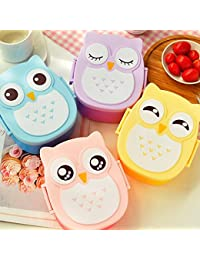 Get 900ml Plastic Bento Lunch Box Square Cartoon Owl Microwave Oven Food Container save