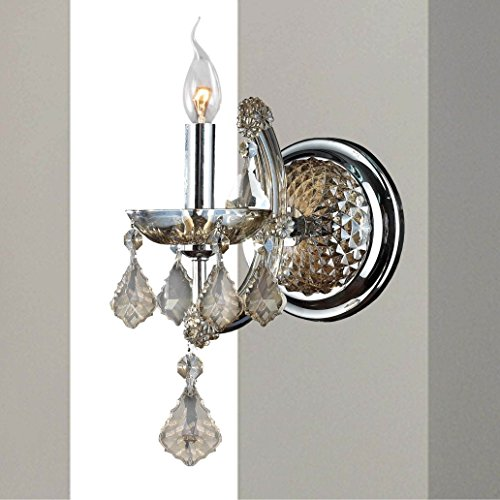 1 Light Candle Wall Sconce - Brilliance Lighting and Chandeliers Maria Theresa Imperial 1-light Chrome Finish and Golden Teak Crystal Candle Wall Sconce