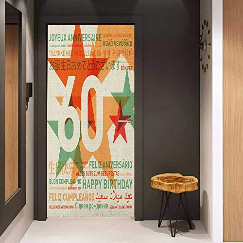 Onefzc Door Wallpaper Murals 60th Birthday World Cities Birthday Party Theme with Abstract Stars Print WallStickers W23 x H70 Green Vermilion and White -