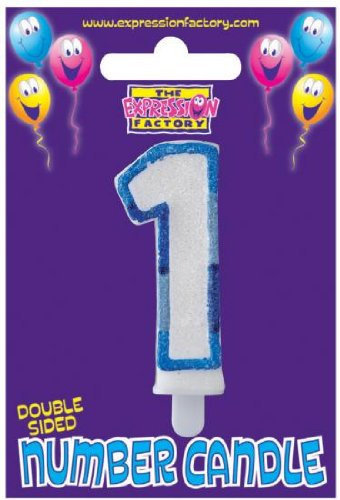 1st Birthday Candle - Blue glitter edge number 1 candle - great for adding to a birthday cake EXPRESSION