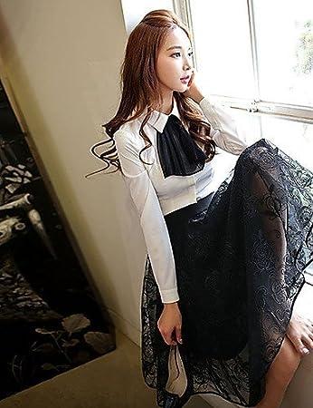 f16cc42fe YY Mujer 2016 Nueva Primavera Negro Bodycon faldas de burbujas de encaje