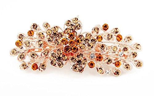 Yeshan Women Rhinestone Crystal beaded Flower Pattern Hair Barrettes Clips,Golden