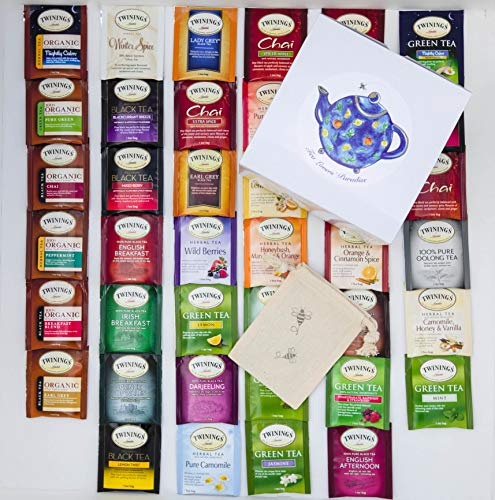 Twinings Tea Bags Sampler Assortment Variety Pack - 40 Count with Gift Box and Travel Pouch - (Twinings Tea Boxes)