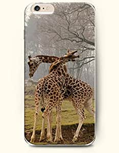 iPhone 6 Plus Case 5.5 Inches Giraffe Hugging - Hard Back Plastic Case OOFIT Authentic