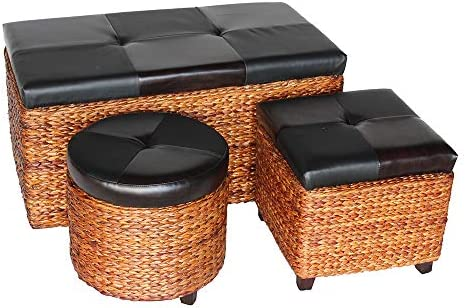 YK Decor 3set Woven Storage Ottoman Padded Ottoman Bench Storage Chest Side Ottoman Square Cube Foot Rest Stool Seat Round Stool