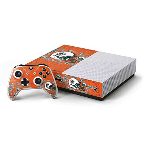Skinit NFL Miami Dolphins Xbox One S Console and Controller Bundle Skin - Miami Dolphins - Blast Design - Ultra Thin, Lightweight Vinyl Decal Protection