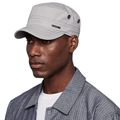 CACUSS Men's Cotton Army Cap Cadet Hat Military Flat Top Adjustable Baseball Cap(Grey)