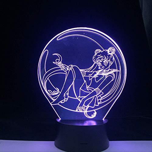 TIDRT 3D Led Lampe Anime Sailor Moon Figur Nachtlichter Manga Schreibtisch Tischlampe Cartoon Für Zu Hause Schlafzimmer Dekor Kinder Geschenk 16 Farben