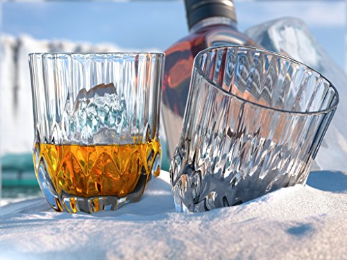 Glacier Whiskey Glasses, Scotch Glasses By Ashcroft - Set Of 2. Unique, Elegant, Dishwasher Safe, Glass Liquor and Bourbon Tumblers. Ultra-Clarity Glassware.