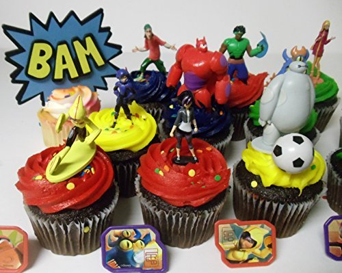 Big Hero 6 Deluxe 21 Piece Cupcake Topper Set Featuring 6 Big Hero Party Cake Rings, Soccer Ball, Bam & Pow Signs, and 2'' Figures of Hiro Hamada, Baymax, Go Go Tomago, Honey Lemon, Wasabi and Fred - Includes Each in Their Super Hero Battle Suits