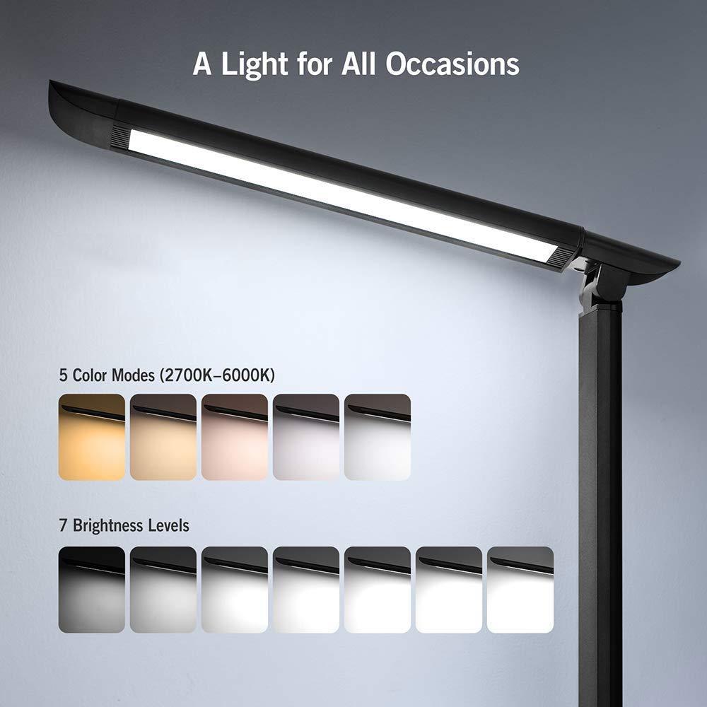 Lámpara Escritorio LED TaoTronics Flexo de Escritorio 12W Regulable (Cuidado a Ojos, Puerto USB 5V/ 1A, 7 Niveles de Brillo x 5 Modos, Control Táctil, ...