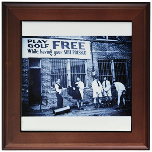 3dRose ft_6819_1 Play Golf Free While Having Your Suit Pressed Cyan Tone Framed Artwork, 8 by 8-Inch ()