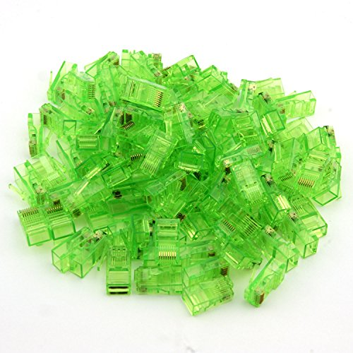 TOTOT 100 PCS Gold Plated Leads RJ45 CAT5 8P8C Crystal Network Modular Connector Cable Head Plug, Green ()