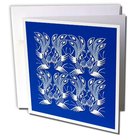 Russ Billington Chinese Folk Art Series - Exotic Lyre Bird Design in White and Blue - 1 Greeting Card with envelope (gc_239174_5)