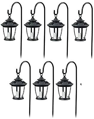 Four Seasons TV29960BK Black, Solar Candle Pathway Lantern Lights - Quantity 7