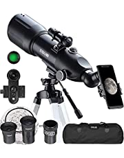 ESSLNB Telescopes for Adults Kids Astronomy Beginners 80mm Astronomical Telescopes with 10X Phone Mount Refractor Telescope Tripod and Carrying Bag Erect-Image Travel Telescope with Moon Filter