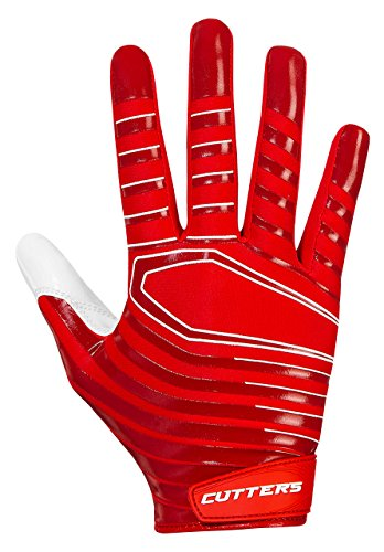 Cutters Gloves S252 Rev 3.0 Receiver Gloves, Red, Large