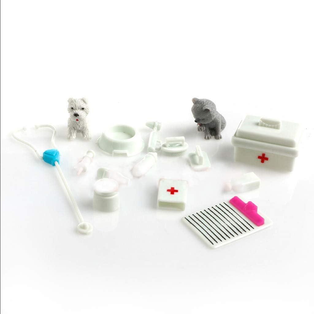 Sichuan Ensemble de 14 pi/èces bo/îte d/équipement m/édical Docteur infirmi/ère Outils Jouets kit pour poup/ée Barbie