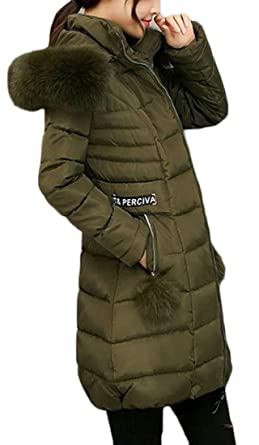 11697eac535b4 Cromoncent Women Winter Thicken Quilted Padded Faux Fur Hooded Down Jacket  Outwear Parka Coat Army Green