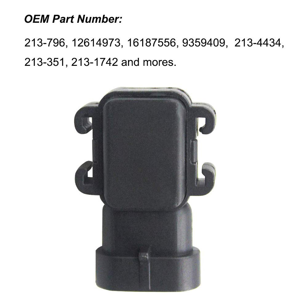 Kunttai 213-796 Manifold Absolute Pressure Sensor 09359409 MAP Sensor 1 Bar Fit for GM Buick Cadillac Chevrolet Silverado 1995-2011