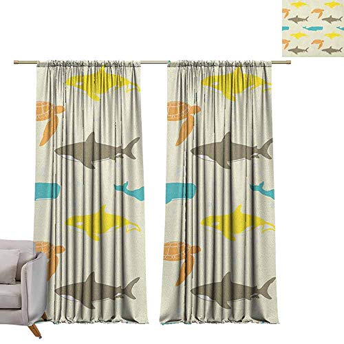berrly Tie Up Printed Blackout Curtain Sea Animals,Pattern with Whale Shark and Turtle Aquarium Doodle Style Marine Life, Ivory Taupe Peach W108 x L84 Tie Up Window Drapes Living Room