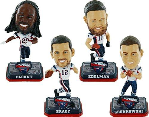New England Patriots Super Bowl LI Champions 4-Pack Mini Bighead Bobbleheads Set