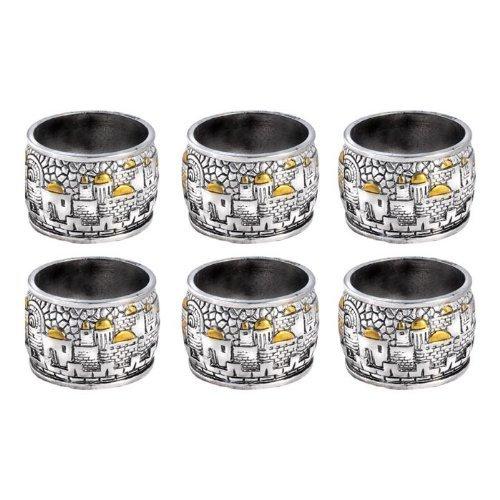 Jerusalem Designed Napkin Rings ~ Set of 6 925 Silver Electroforming Karshi