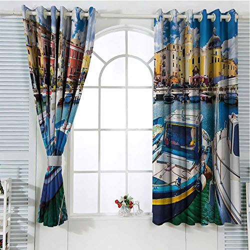 Gloria Johnson Italyblack Out Window curtainGrommet Window CurtainColorful Procida Island with Fishing Boats Summertime Tourism Vacation Travel Themesmall Window curtainMulticolor63 x 72 inch