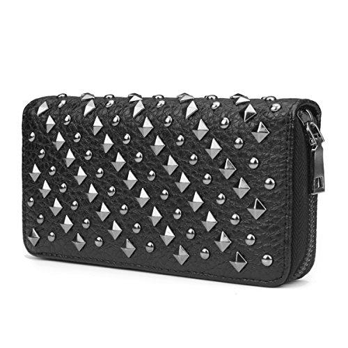 (OURBAG Cool Fashion Women Punk Style Spike Handbag Rivet Studded Long Wallet Phone Bag Black Medium)