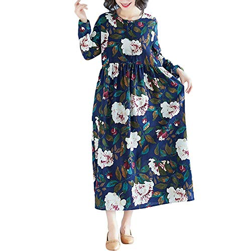 Long Swing Mini Medium Stampa Flora Color Maxi Da Donna Marine Hip Abiti Linen Dress Marine Packing Dimensione Wild Cotton Casual colore Solid vq8Rz6