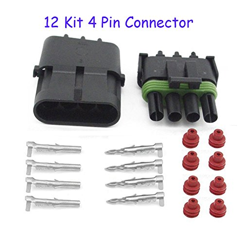 (HIFROM (12 Kit of 4 Pin Way) Waterproof Electrical Connector 1.5mm Series Terminals Heat Shrink Quick Locking Wire Harness Sockets 20-14 AWG)