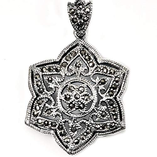- Star Pendant Simulated Marcasite .925 Sterling Silver Cutout Charm Vintage Crafting Pendant Jewelry Making Supplies - DIY for Necklace Bracelet Accessories by CharmingSS