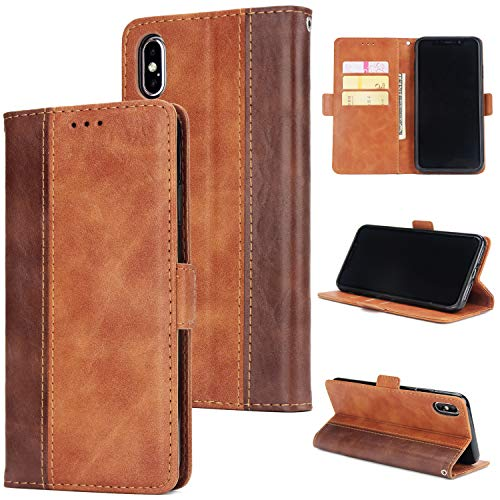- Crosspace iPhone Xs Max Case, iPhone Xs Max Wallet Case Soft PU Leather Contrast Color Stand Slim Protective Flip Cover with Card Holder Slots and Detachable Wrist Lanyard for iPhone Xs Max 6.5