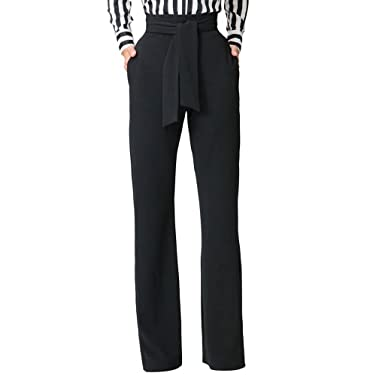 ab85bbf8b635a2 GUOLEZEEV Women High Rise Palazzo Long Pants Solid Wide Leg Trousers Black  Small