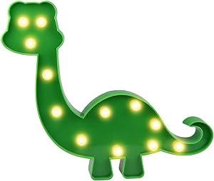 Super Cute Dinosaur LED Night Light, Childen Kids Bedroom Decorative Table Lamps, Marquee Animal Sign, Gift for All Dinosaur Lovers! (Dinosaur - Green)