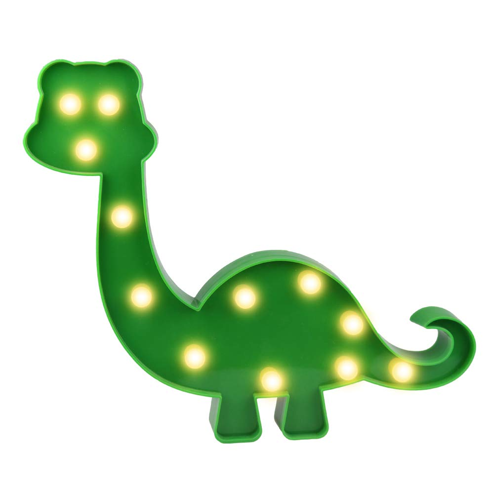 Super Cute Dinosaur LED Night Light, Childen Kids Bedroom Decorative Table Lamps, Marquee Animal Sign, Gift for All Dinosaur Lovers! (Dinosaur - Green)