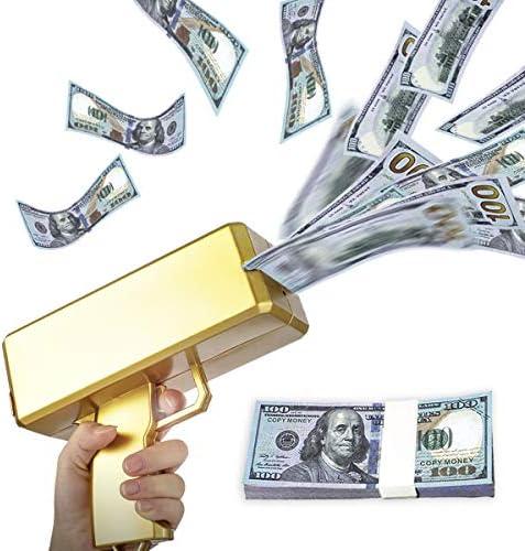 UNKENBO Gold Money Gun Shooter ? Prop Guns for Movies That Look Real  Money Gun Make it RainPlay Money 100 Dollar Bills ( Metallic Gold )