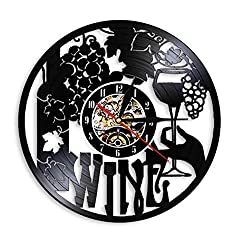 ZFANGY Vinyl Record Wall Clock Wine Logo Wall Clock Winery Bottle Glass Grape Vine Drink Drinking Alcohol Liquor Pub Bar Label Emblem Vinyl Record Wall Clock 12 inches